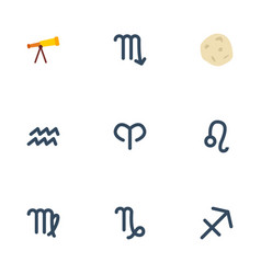 Flat icons comet water bearer optics and other vector