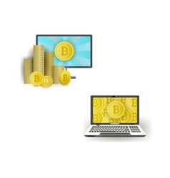 Flat laptops monitor with bitcoin set vector