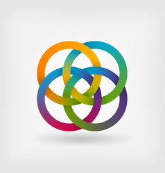 Four interlocked rings in rainbow colors vector