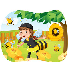 Girl in bee costume playing in the park vector image