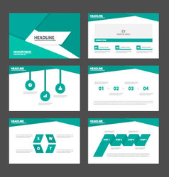 Green presentation templates infographic elements vector