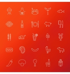 Grill menu line icons vector