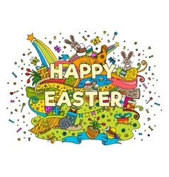 Happy Easter doodle outline composition vector image vector image