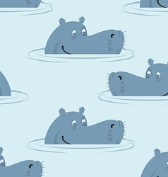 Hippo in water seamless pattern Good hippopotamus vector image vector image
