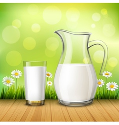 Jug and glass of milk vector