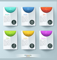 Modern infographic design template with 6 vector