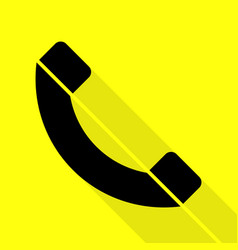 phone sign black icon with flat vector image vector image