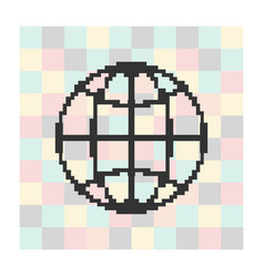 pixel icon globe on a square background vector image vector image