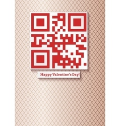 Postcard with qr-code for happy valentines day vector