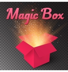 Realistic Magic Open Box Magic Gift Box with vector image