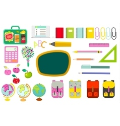 School stationery supplies clip art objects vector