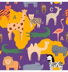 Seamless pattern with African animals in flat vector image