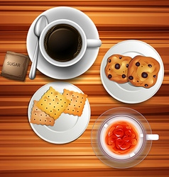 Teatime with coffee and biscuits vector