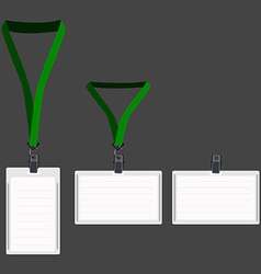 Three white lanyard with green holder vector image vector image