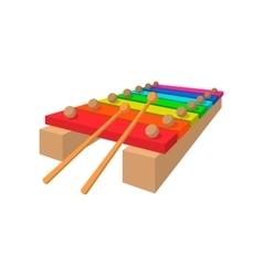 Xylophone cartoon icon vector image vector image