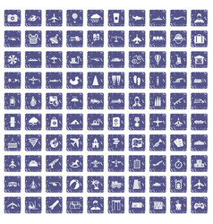 100 plane icons set grunge sapphire vector