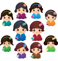 Various girl characters vector