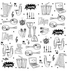 Tool music icon set doodles vector