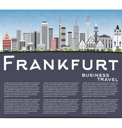 Frankfurt skyline with gray buildings blue sky vector