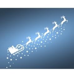 Santa claus in sled rides reindeer vector