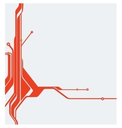 Red abstract technology circuit board vector