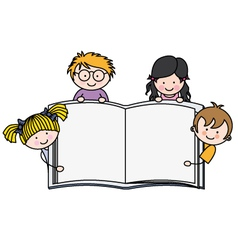 Children with a book with blank pages vector