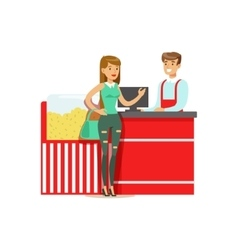 Woman buying popcorn from cinema seller part of vector
