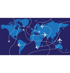 World map airplane flights vector