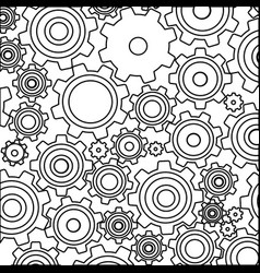 Monochrome background with pattern of pinions vector