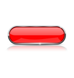 red oval button with metal frame vector image