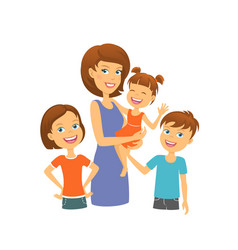 Mother with kids happy family mom with children vector