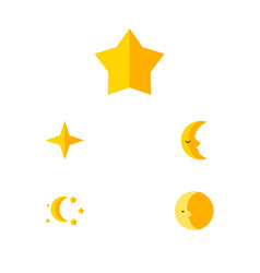 Flat icon night set of starlet star bedtime and vector