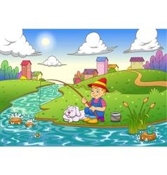 Fishing boy vector