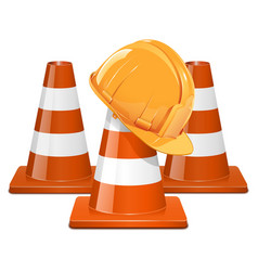 Cones with helmet vector