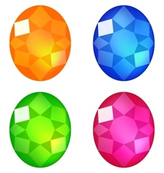 Set of colorful gems isolated on white vector