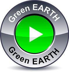 Green earthround button vector