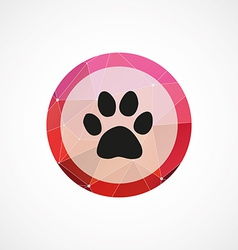 Cat footprint circle pink triangle background icon vector
