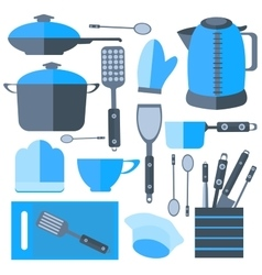 Set isolated kitchen tools frying pan kettle vector
