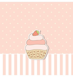 Pink background with cupcake vector
