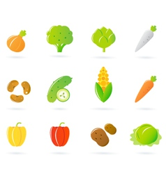 vegetable food icons vector image