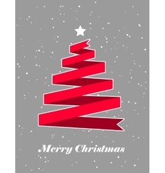 Christmas card with red ribbon flat vector