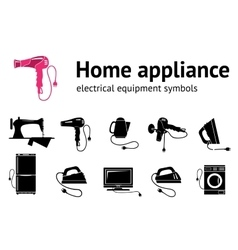 Home electrical appliance icon set hairdryer iron vector