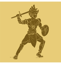 Gladiator in carved style vector