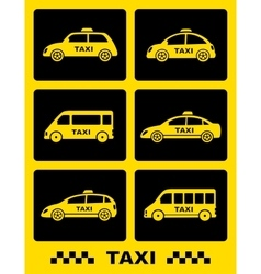 Set of taxi car icon on black buttons vector