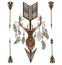 Decorative deer arrow feathers ornamental vector
