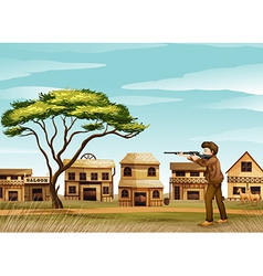 A gunman at the road vector image