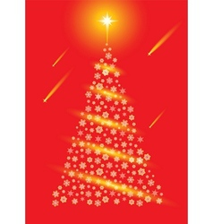 Abstract red christmas tree postcard vector image vector image