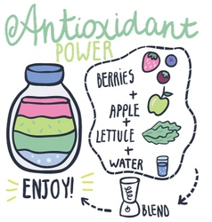 Antioxidant power hand drawn smoothie recip vector