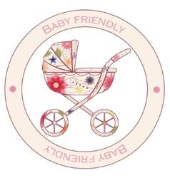 Baby friendly vintage sticker vector image