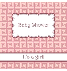 Background with greek pattern baby shower vector